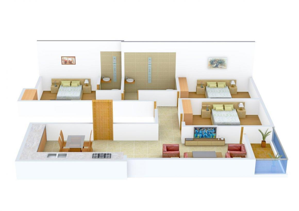 Floor Plan Image of 0 - 1582.0 Sq.ft 3 BHK Apartment for buy in Amrapali Dream