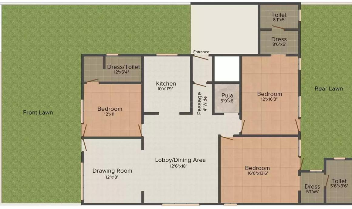 Kesar Sector 15A Floors Floor Plan: 3 BHK Unit with Built up area of 2250 sq.ft 1