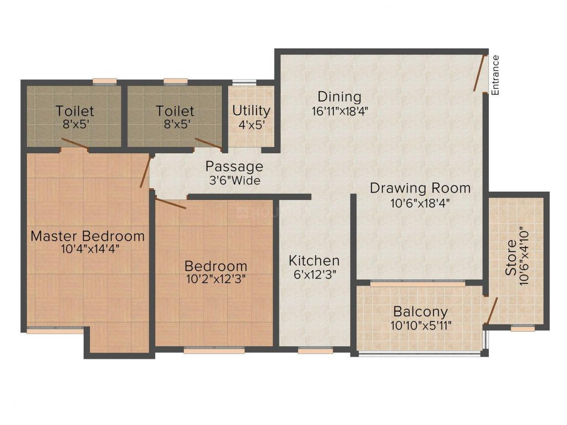 Floor Plan Image of 0 - 1220 Sq.ft 2 BHK Apartment for buy in Ashiana Zinia