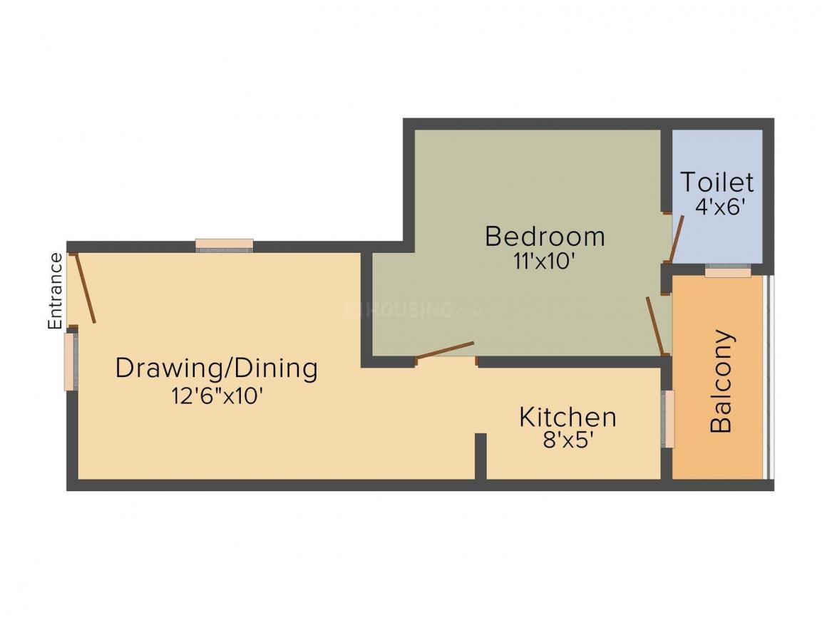 Times Apna Ghar Floor Plan: 1 BHK Unit with Built up area of 550 sq.ft 1