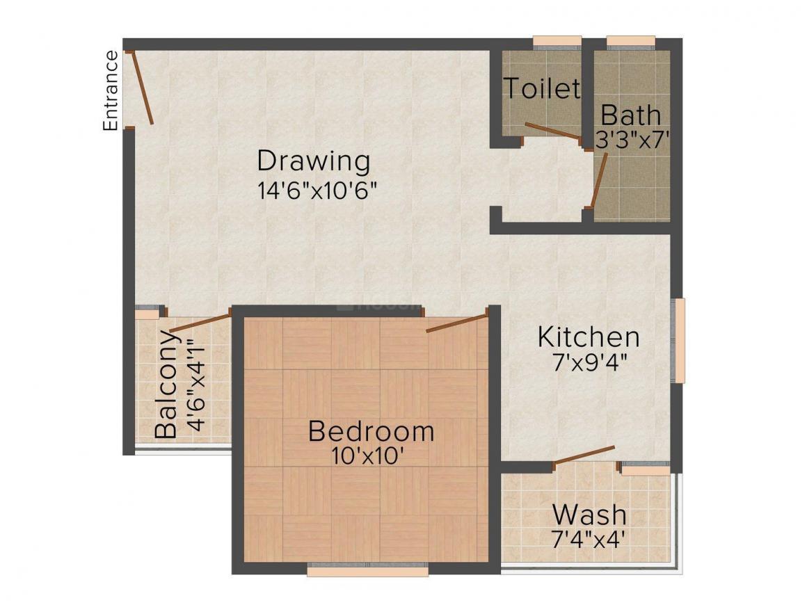 Phoenix Floors Floor Plan: 1 BHK Unit with Built up area of 540 sq.ft 1