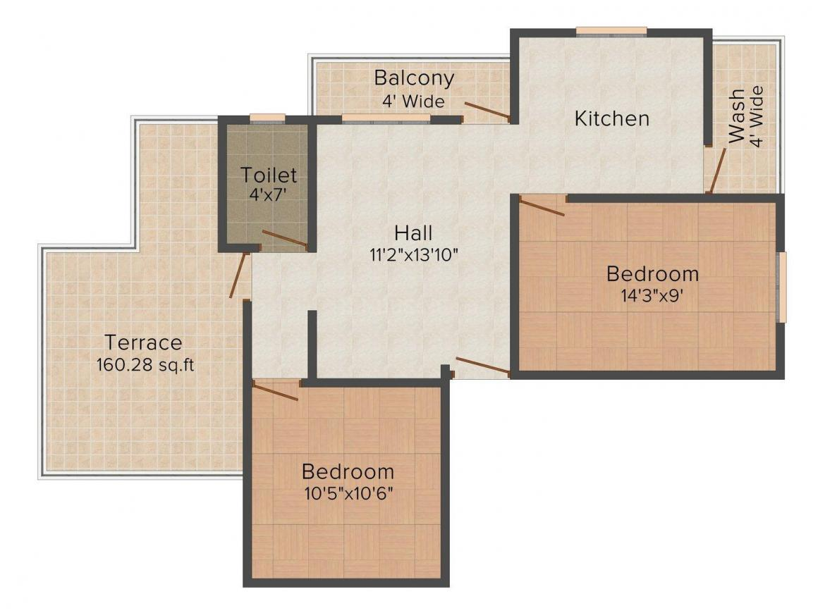 Floor Plan Image of 824.0 - 1111.0 Sq.ft 2 BHK Apartment for buy in Pinnacle Mahalaxmi Residency - 4