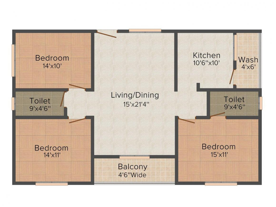Floor Plan Image of 1500.0 - 1570.0 Sq.ft 3 BHK Apartment for buy in Creative Pride