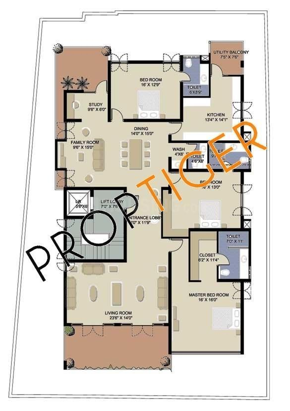 TRISHUL Mittal Parkview Floor Plan: 3 BHK Unit with Built up area of 3500 sq.ft 1