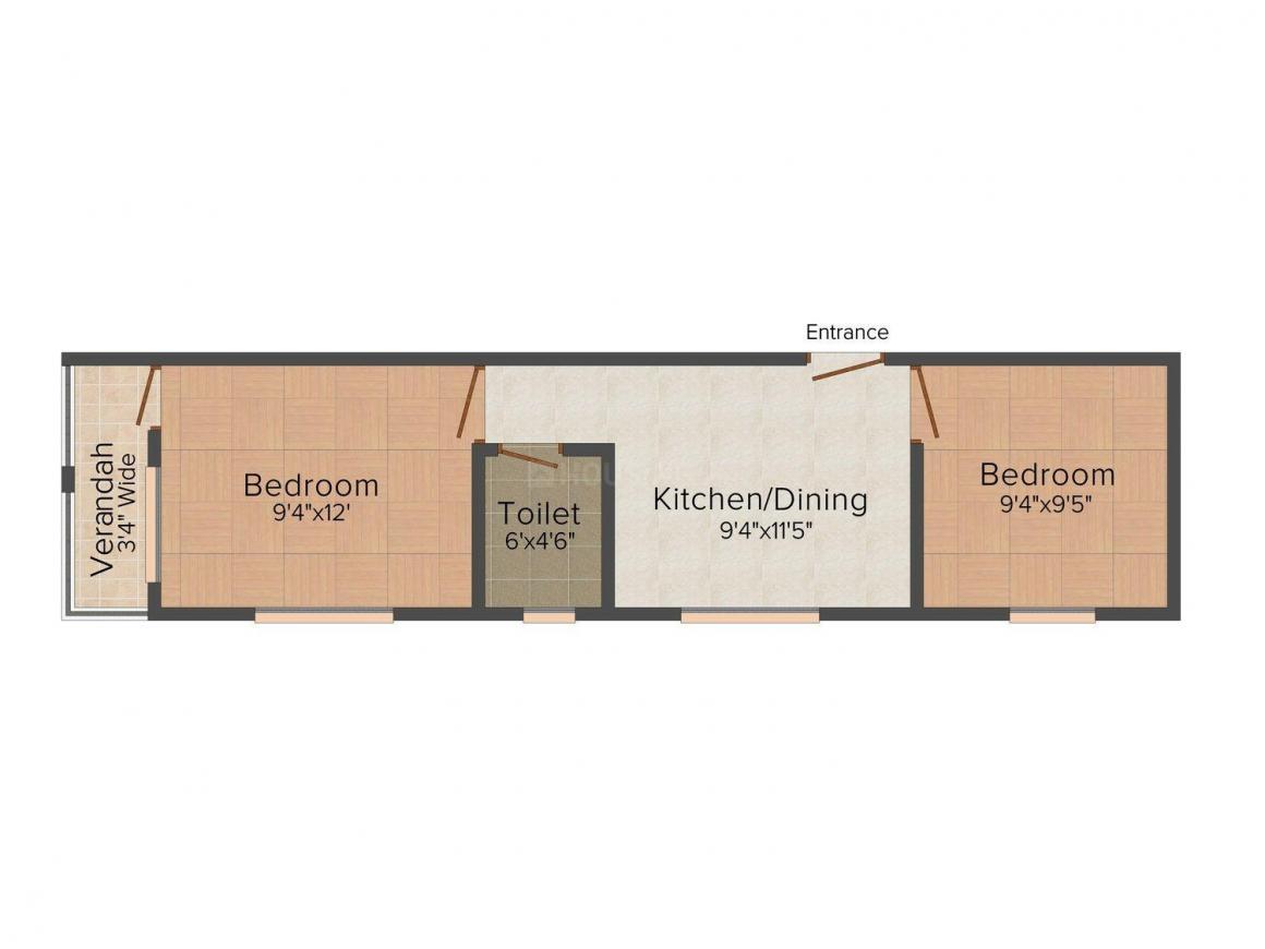 Floor Plan Image of 626.0 - 918.0 Sq.ft 2 BHK Apartment for buy in Swapnoneer Rup