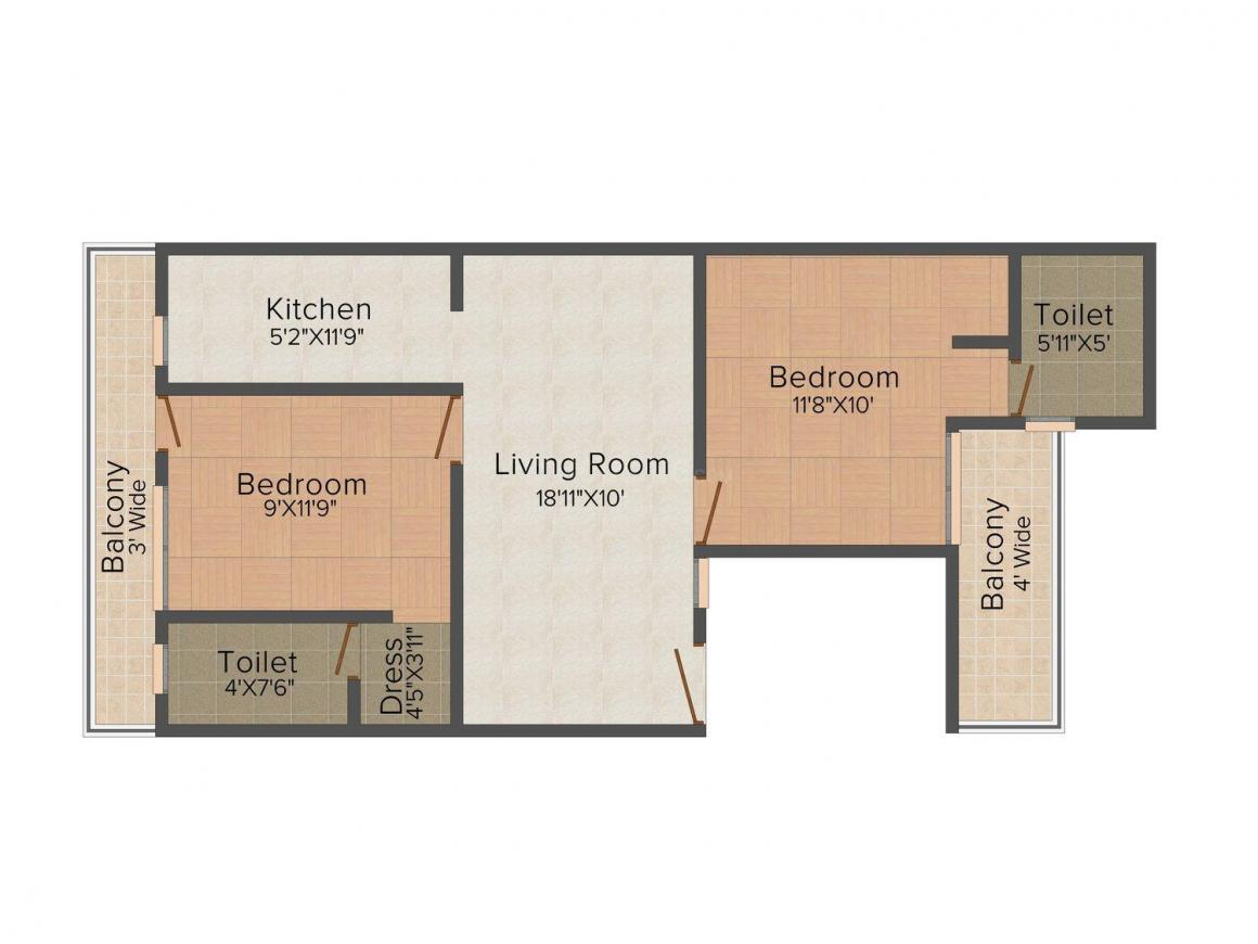 Punit Homes - 8 Floor Plan: 2 BHK Unit with Built up area of 1000 sq.ft 1