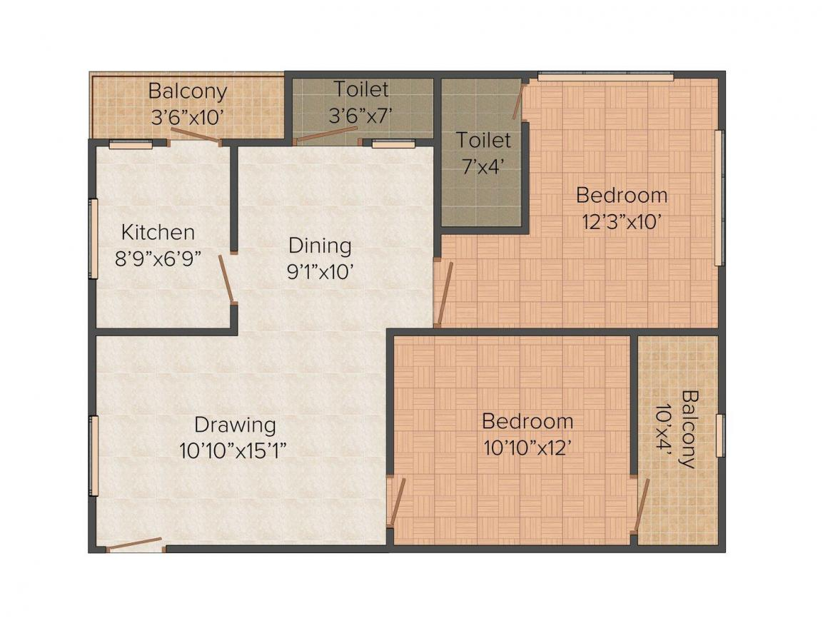 Floor Plan Image of 0 - 250.0 Sq.ft 2 BHK Apartment for buy in Madhu Shirdi Sai Happy Homes
