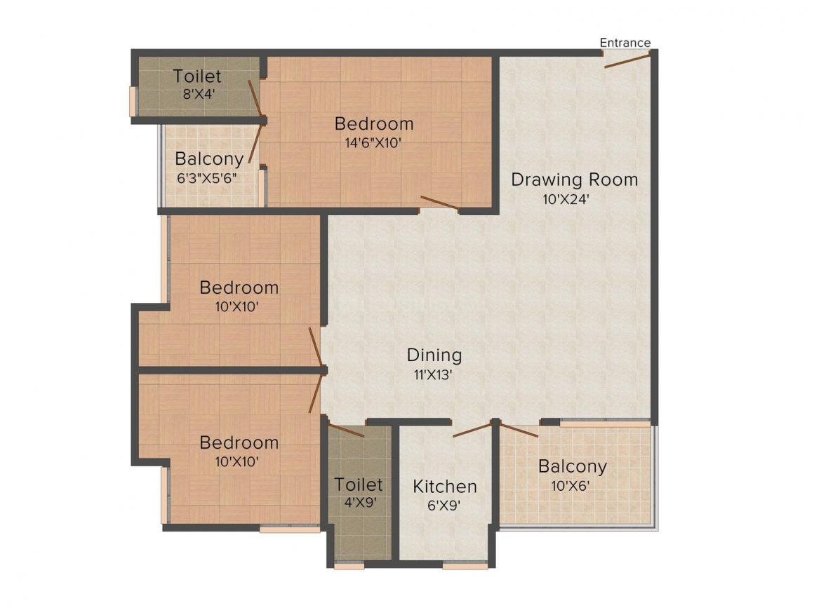 Floor Plan Image of 0 - 1341 Sq.ft 3 BHK Apartment for buy in Vijaya Tirumala