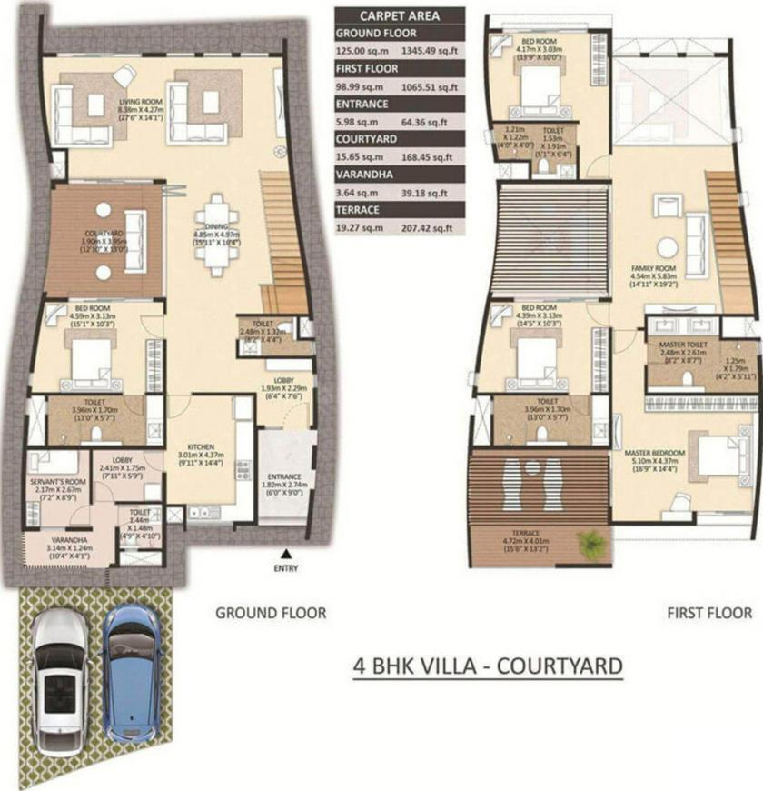 Floor Plan Image of 0 - 2411.01 Sq.ft 4 BHK Villa for buy in Mahindra The Serenes Villa No 8