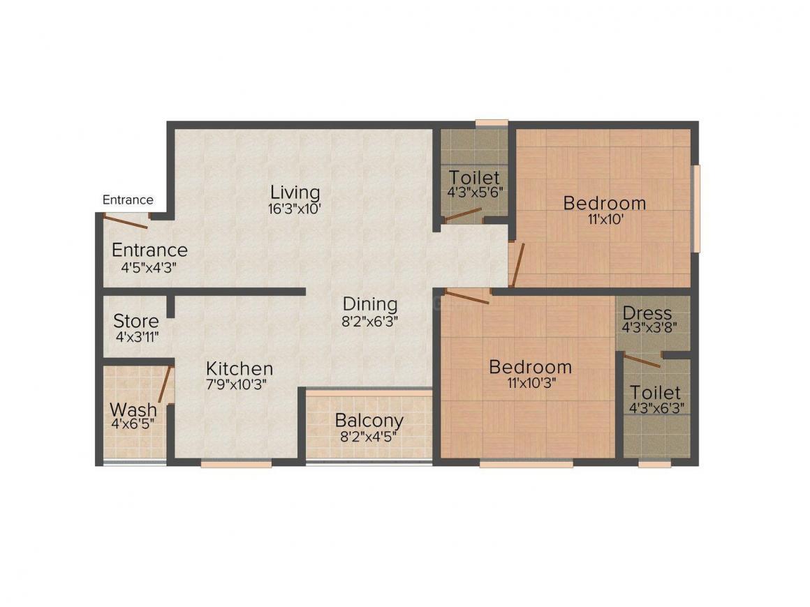 Vinayak Alfa Square Floor Plan: 2 BHK Unit with Built up area of 1170 sq.ft 1