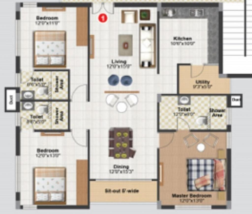 Doyen Kirans Doyan Crest Floor Plan: 3 BHK Unit with Built up area of 1794 sq.ft 1