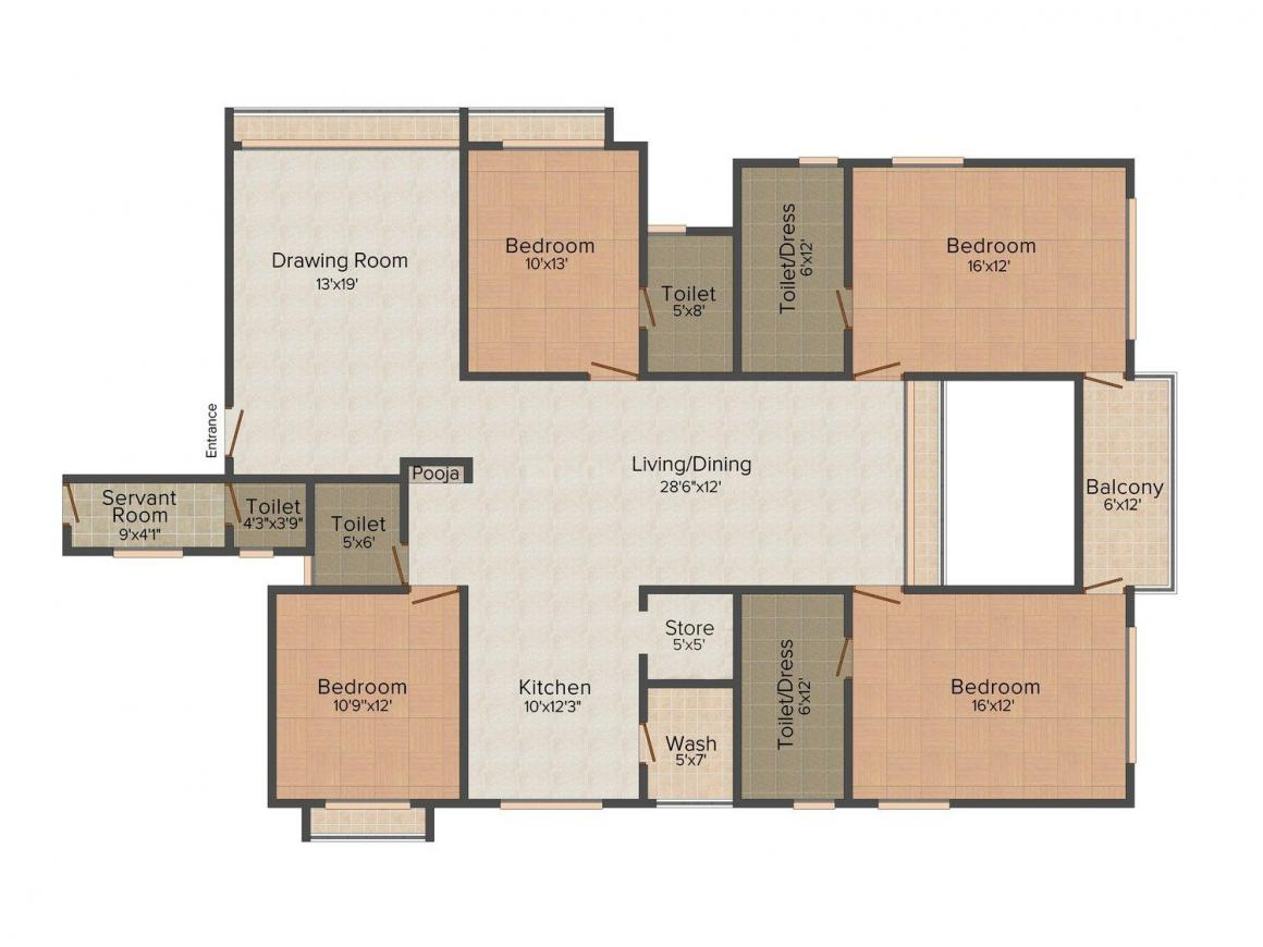 Sparsh Divine 2 Floor Plan: 4 BHK Unit with Built up area of 3690 sq.ft 1