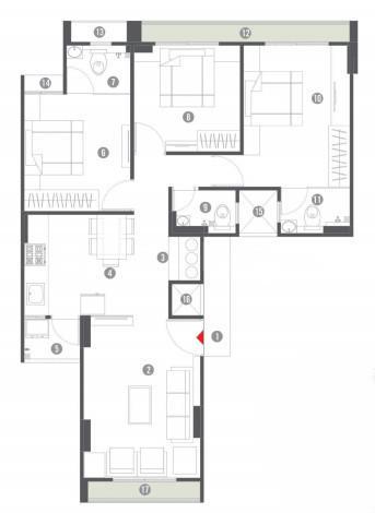 Westside Elegance Floor Plan: 3 BHK Unit with Built up area of 794 sq.ft 1