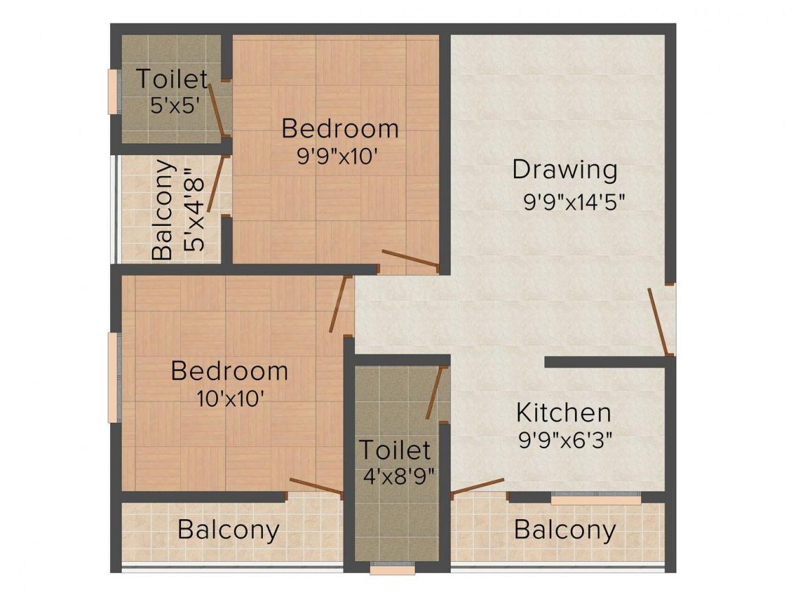 Floor Plan Image of 920.0 - 1200.0 Sq.ft 2 BHK Apartment for buy in Chakole Ramleela Imperial