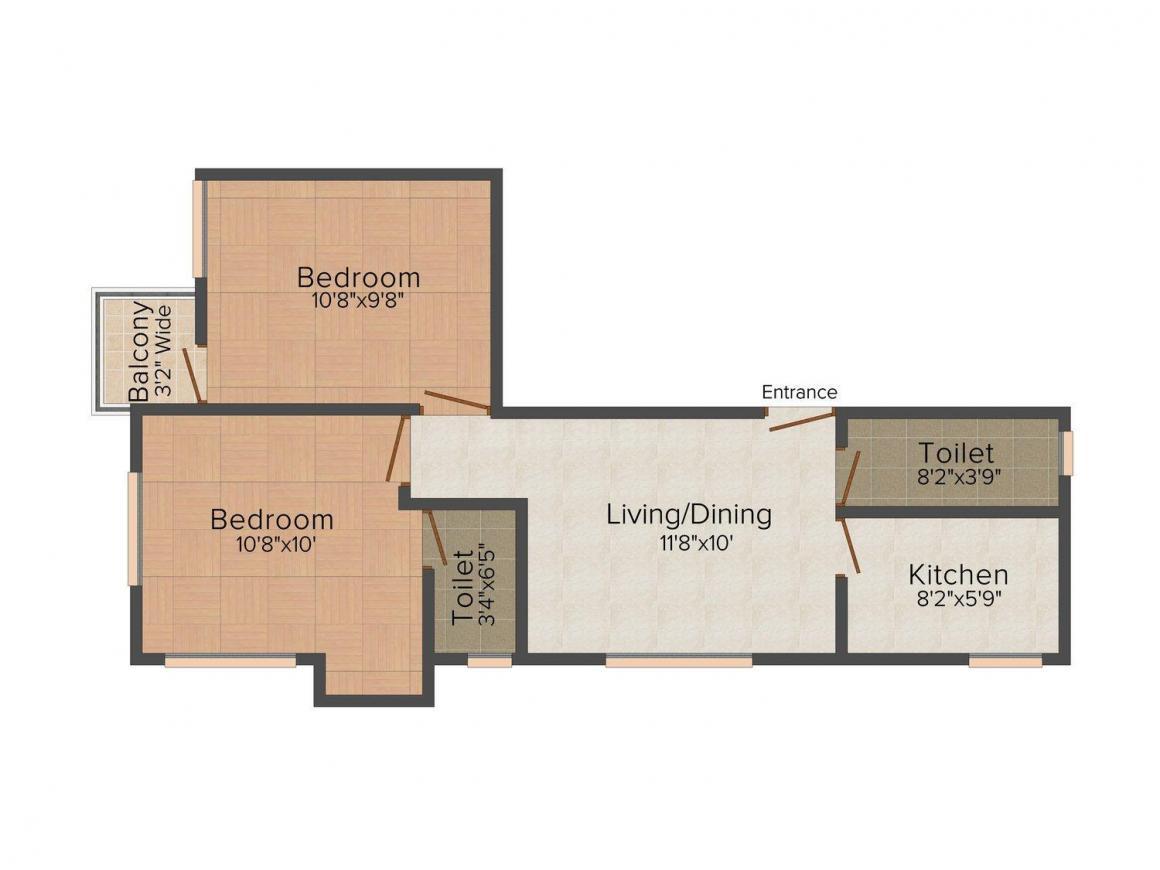 Floor Plan Image of 700 - 1050 Sq.ft 2 BHK Apartment for buy in Srishti Apartment