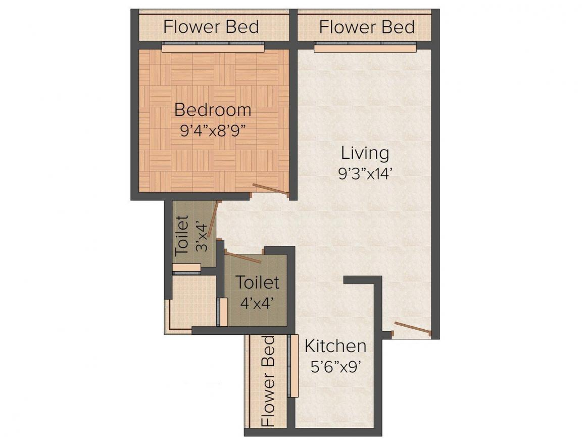Floor Plan Image of 0 - 413.0 Sq.ft 1 BHK Apartment for buy in Skyline Homes