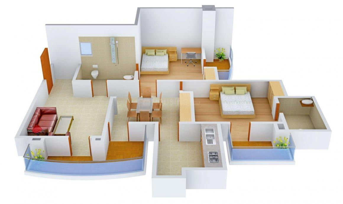 Parsvnath Preston Floor Plan: 2 BHK Unit with Built up area of 1265 sq.ft 1