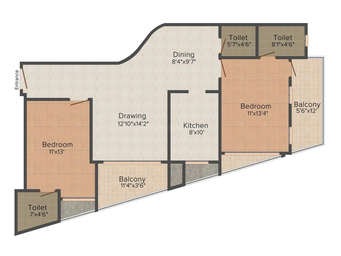 Gulshan Gokul Grande Floor Plan: 2 BHK Unit with Built up area of 1570 sq.ft 1