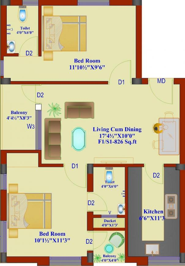Chennai Sun Flower Floor Plan: 2 BHK Unit with Built up area of 826 sq.ft 1