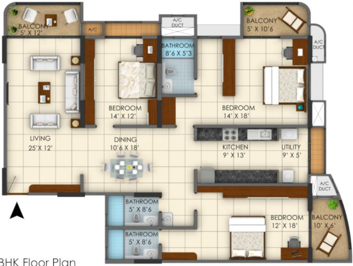 Vinit S Amin Shipal Floor Plan: 3 BHK Unit with Built up area of 255.48 sq.mt 1