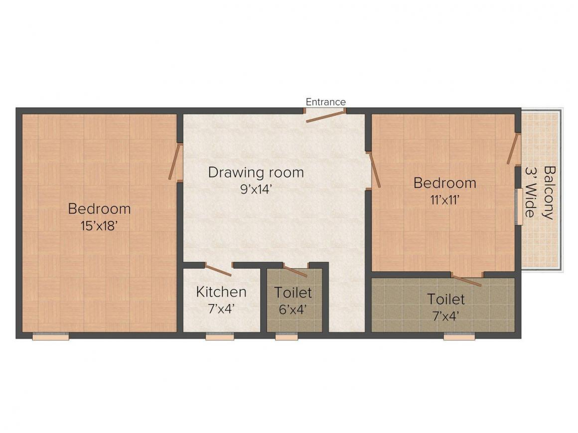 AB Apartment H 31 Floor Plan: 2 BHK Unit with Built up area of 675 sq.ft 1
