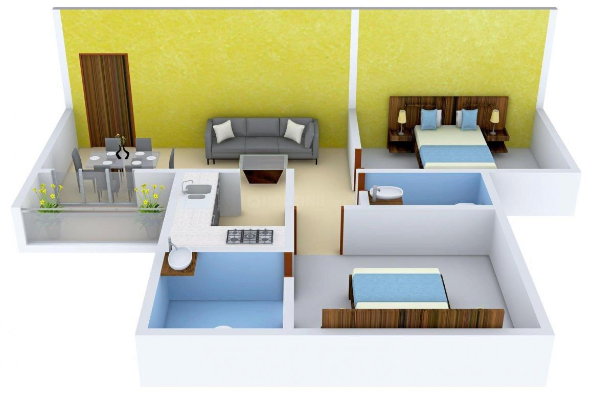 Floor Plan Image of 858 - 1221 Sq.ft 2 BHK Apartment for buy in SSS Pushpanjali Apartment