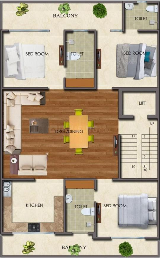 Surendra Homes 4 Floor Plan: 3 BHK Unit with Built up area of 1700 sq.ft 1