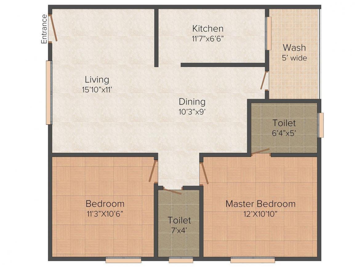 Floor Plan Image of 1005.0 - 1040.0 Sq.ft 2 BHK Apartment for buy in Pragathi Lovely Homes