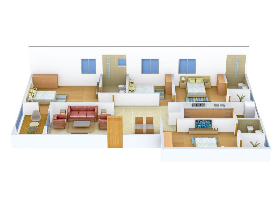 Floor Plan Image of 0 - 2224.0 Sq.ft 4 BHK Apartment for buy in Arvind Expansia Apartment