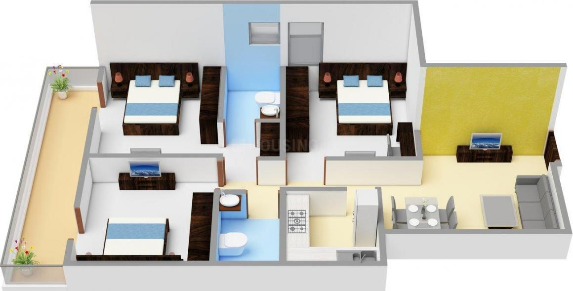ROF Aalayas Phase 2 Floor Plan: 3 BHK Unit with Built up area of 645 sq.ft 1