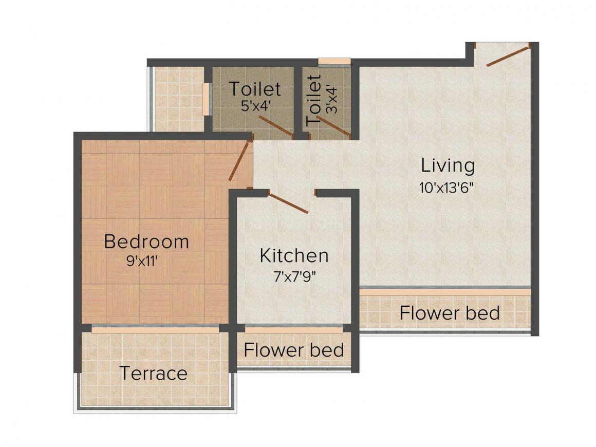 Floor Plan Image of 473.0 - 714.0 Sq.ft 1 BHK Apartment for buy in Relation Silicon Residency