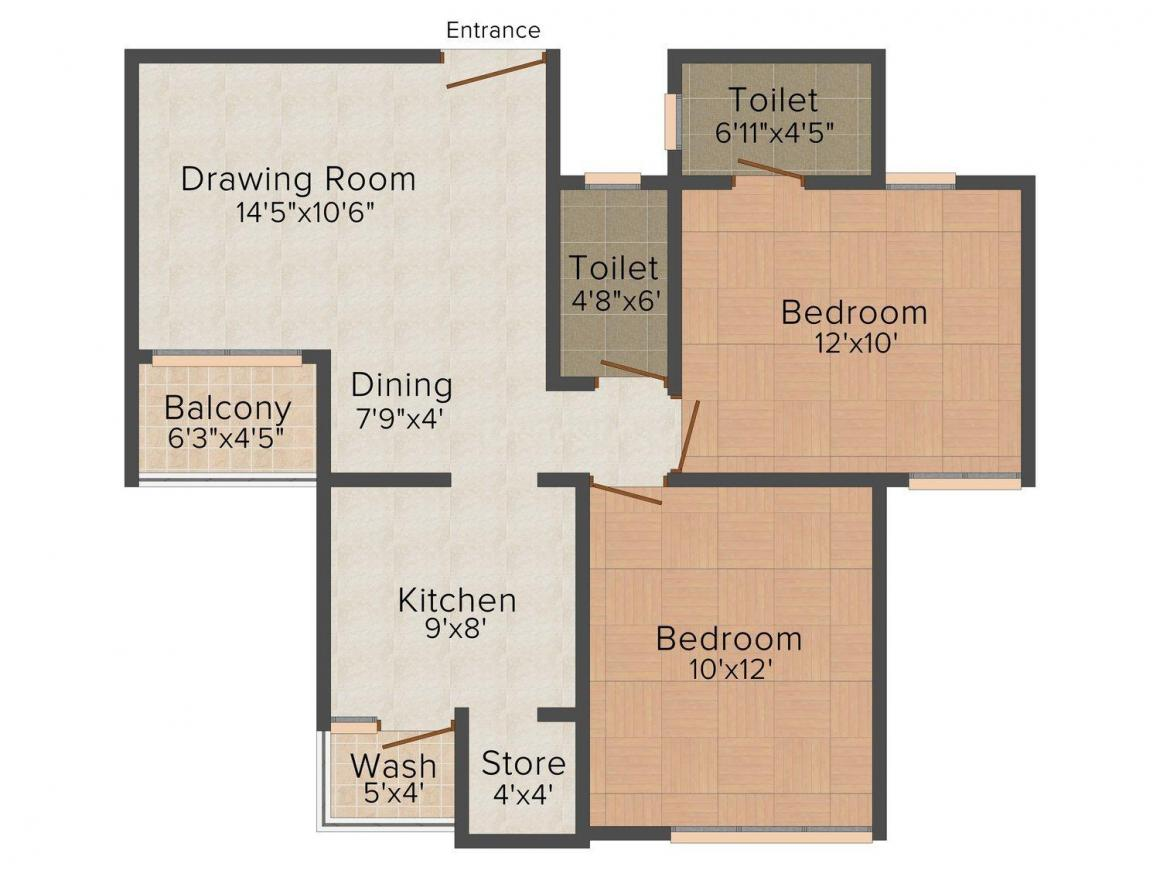 Bainsla Homes - 5 Floor Plan: 6 BHK Unit with Built up area of 1080 sq.ft 1