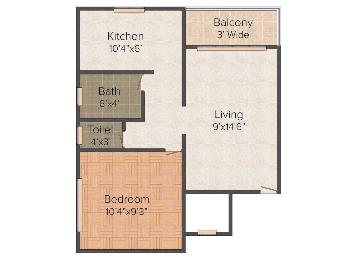 Floor Plan Image of 535 - 545 Sq.ft 1 BHK Apartment for buy in Suraj Infra