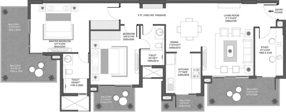 Godrej Icon Floor Plan: 2 BHK Unit with Built up area of 1617 sq.ft 1