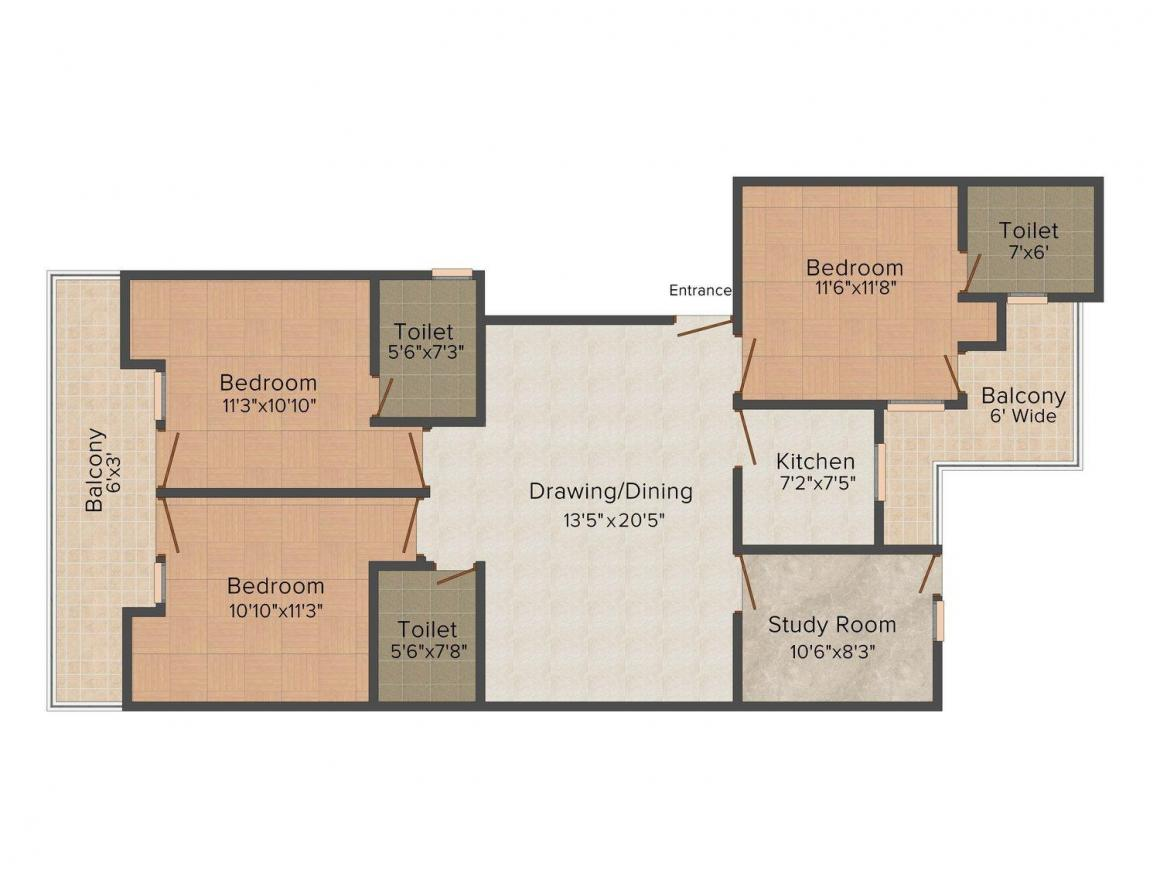 Floor Plan Image of 0 - 1476.0 Sq.ft 3.5 BHK Independent Floor for buy in Royal AK Floors 4