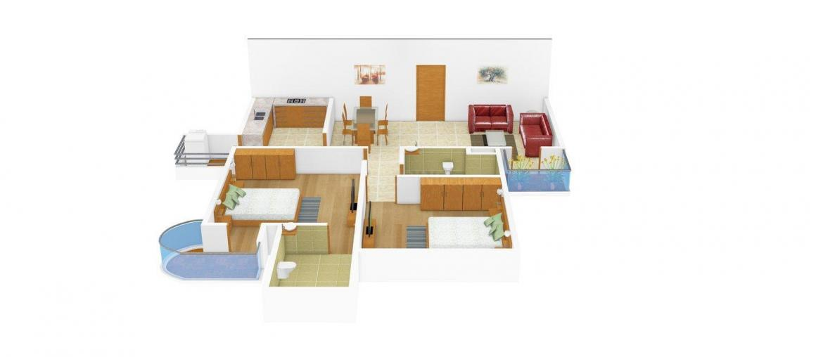 Shree Floors - 3 Floor Plan: 2 BHK Unit with Built up area of 1000 sq.ft 1