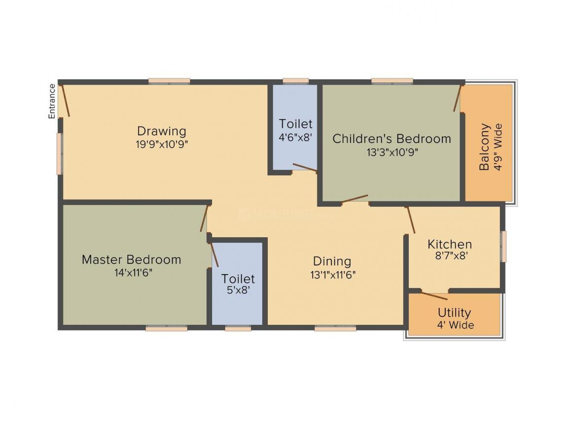 Floor Plan Image of 1294.0 - 1819.0 Sq.ft 2 BHK Apartment for buy in Venkateswara Chaturbhuja Homes