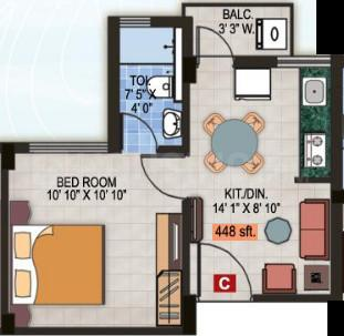 Magnolia Fantasia Phase II Floor Plan: 1 BHK Unit with Built up area of 448 sq.ft 1