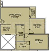 Siddha Galaxia Phase III Floor Plan: 2 BHK Unit with Built up area of 778 sq.ft 1