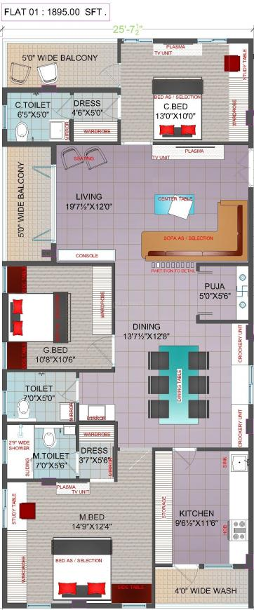 Thipparthi Fort House Premium Floor Plan: 3 BHK Unit with Built up area of 1895 sq.ft 1