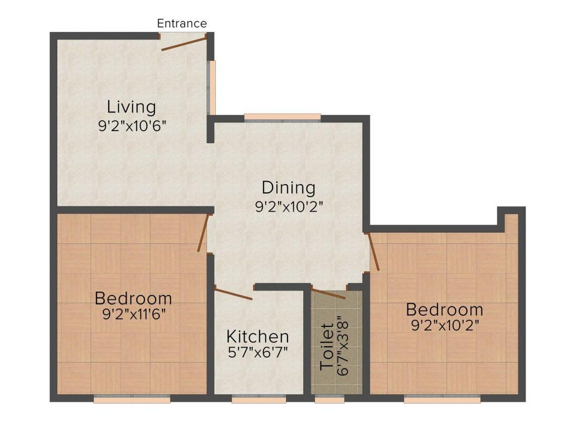 Floor Plan Image of 540.0 - 950.0 Sq.ft 1 BHK Apartment for buy in MYS Platinum Heights