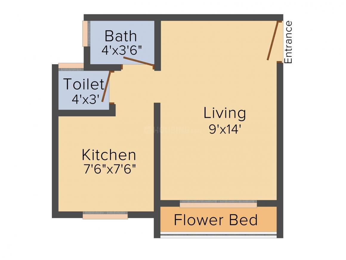 Floor Plan Image of 300 - 620 Sq.ft 1 RK Apartment for buy in Shreya Palace