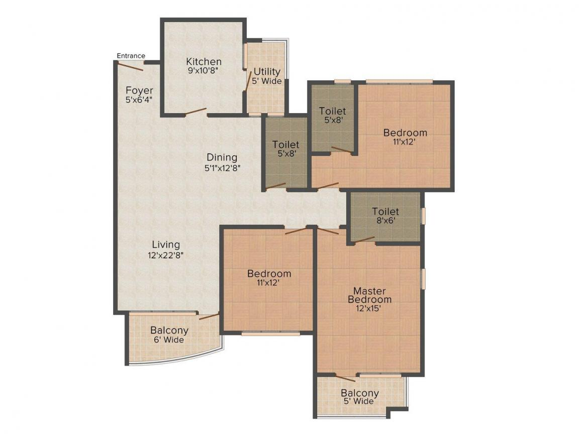 Floor Plan Image of 1296 - 1784 Sq.ft 2 BHK Apartment for buy in Sky Condos Series - I