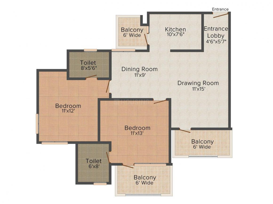 Sarvodya Om Ramashram View Floor Plan: 2 BHK Unit with Built up area of 1310 sq.ft 1