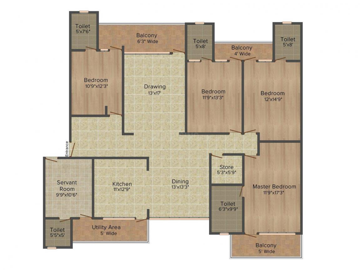 Floor Plan Image of 2433.0 - 3009.0 Sq.ft 3 BHK Apartment for buy in Parsvnath Panorama