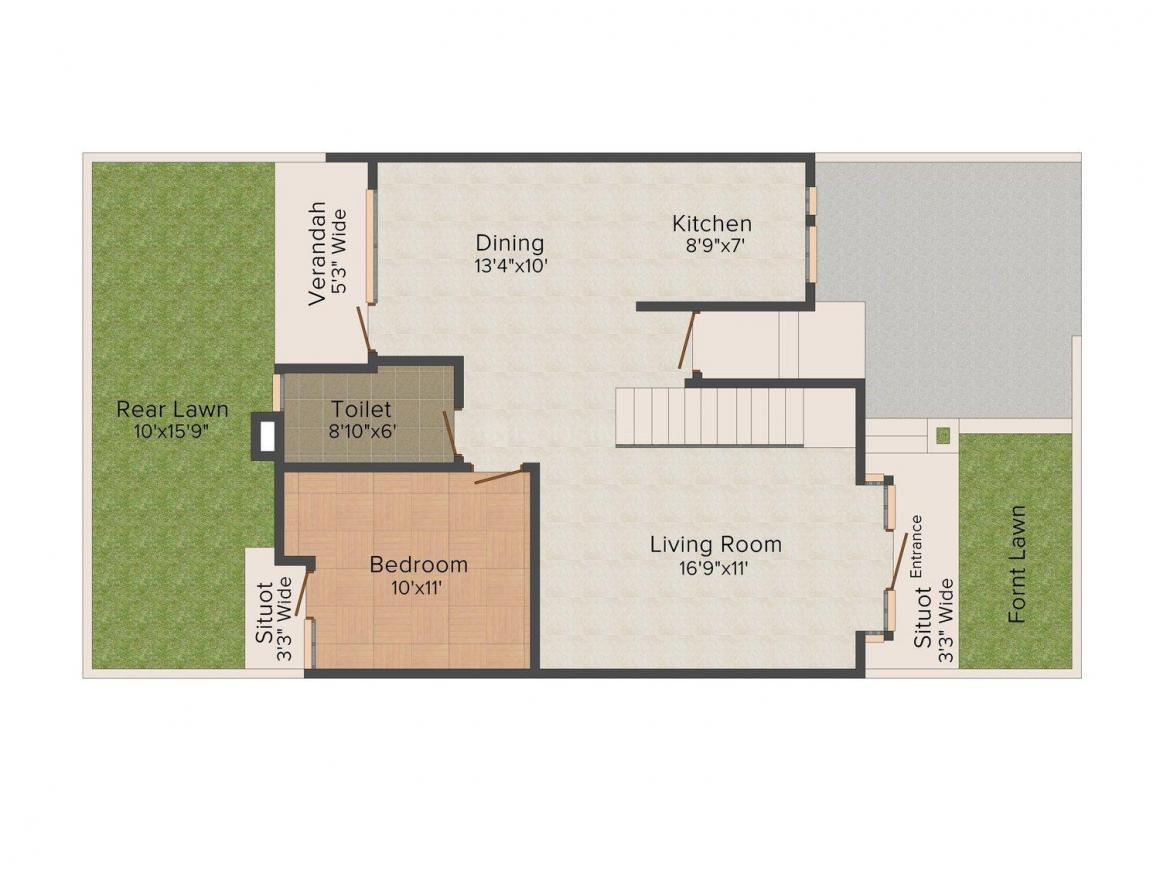 Jindal Carnation Floor Plan: 3 BHK Unit with Built up area of 3650 sq.ft 1