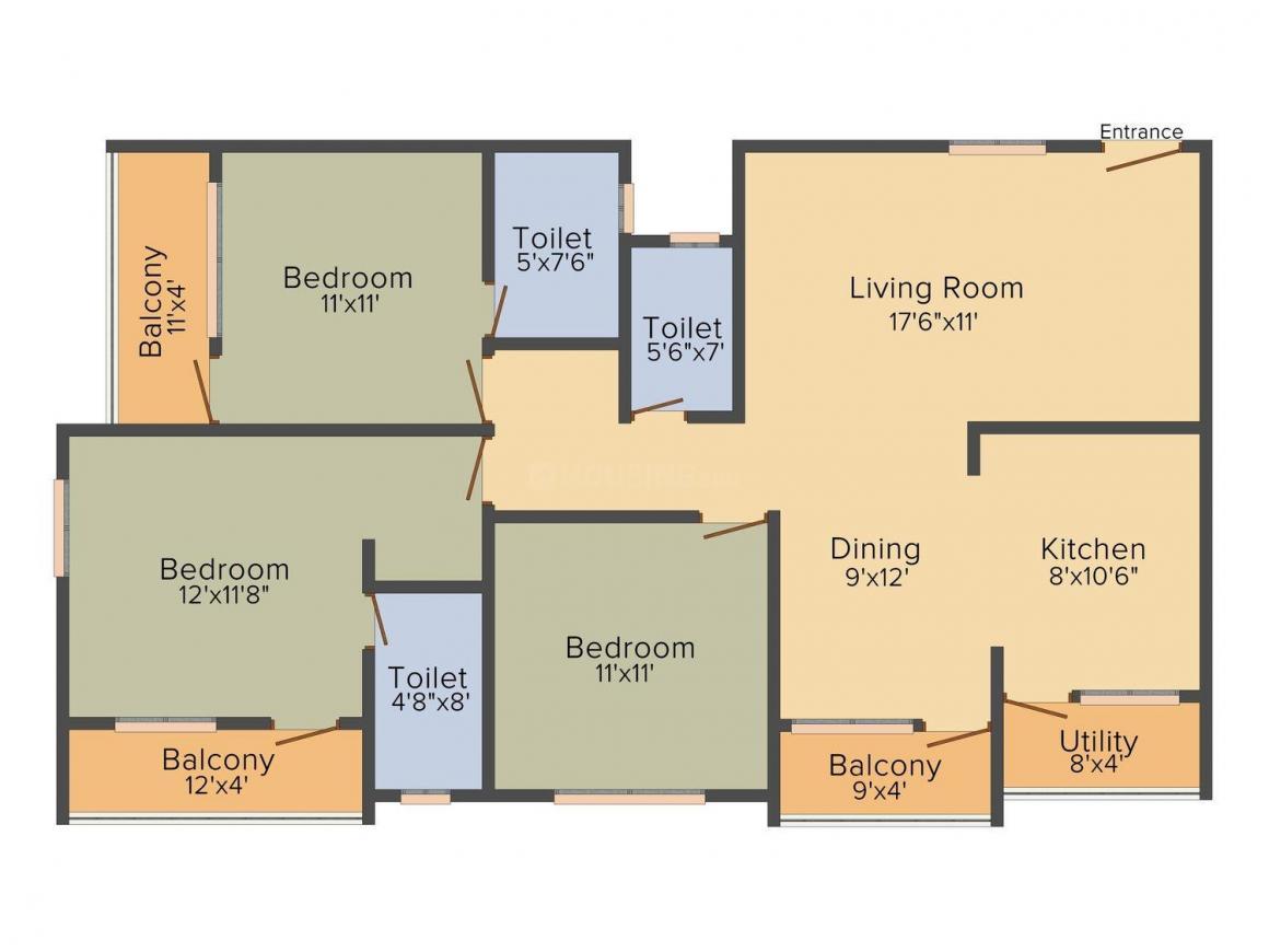 Floor Plan Image of 1070.0 - 1590.0 Sq.ft 2 BHK Apartment for buy in Suncrest Nandanam Residency