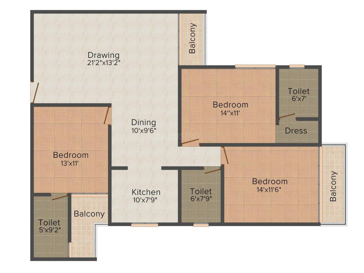Best Avenue Floor Plan: 3 BHK Unit with Built up area of 1925 sq.ft 1