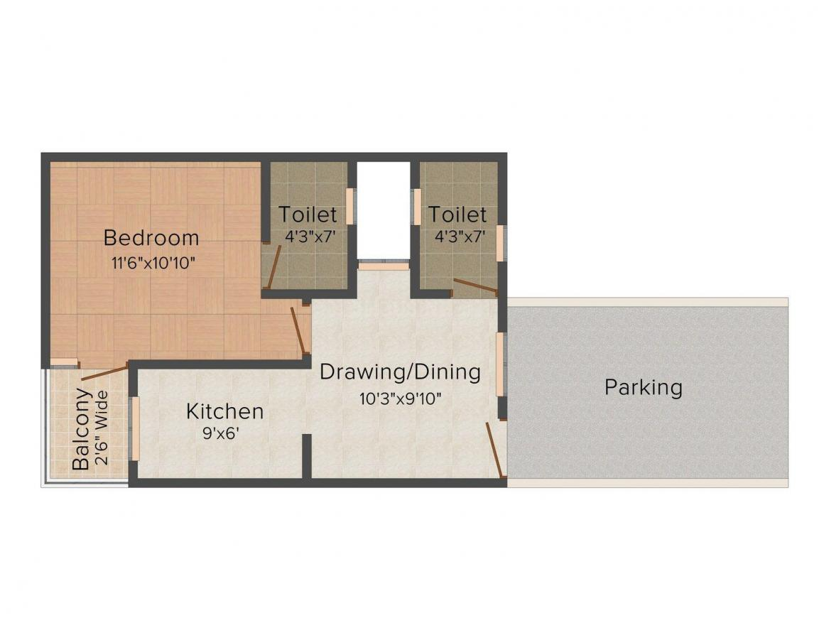 Real Bhumi Arora Apartment - 2 Floor Plan: 1 BHK Unit with Built up area of 405 sq.ft 1