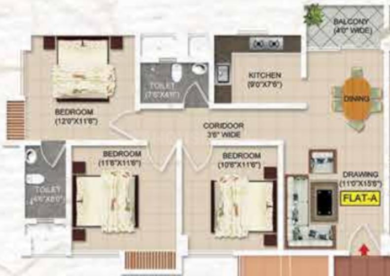 ARS Aashrayam Floor Plan: 3 BHK Unit with Built up area of 844 sq.ft 1